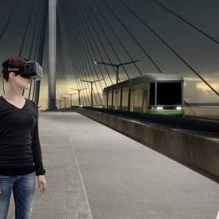 A Virtual Journey On The Bridge Lit Up