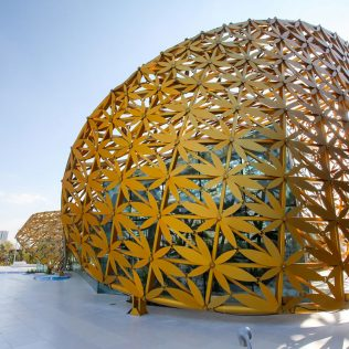 Butterfly Pavilion, An Outer Shell Of Golden Aluminum Biomorphic